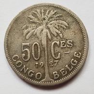 PIECE CONGO BELGE - COLONIE AFRIQUE - 50 CENTIMES - 1927 - ALBERT ROI DES BELGES - PALMIER - Belgien