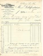 Facture 1908 / 76 AUFFAY / M. DELAFONTAINE / Grains, Graines, Tourteaux, Poires, Pommes - France