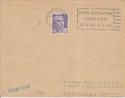1953 France 18 Cher Vierzon Flamme 'Foire Expo' - Postmark Collection (Covers)