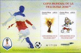 COSTA RICA, 2018, MNH, SOCCER, FOOTBALL, RUSSIA WORLD CUP 2018, S/SHEET - 2018 – Russia