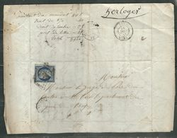 FRANCE 1869 N° 4 C (bleu Foncé)  S/Lettre Obl. Grille + C à D Saint Dier D'Auvergne - 1849-1850 Cérès