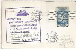 ESTADOS UNIDOS USA 1935 TARJETA DE LA EXPEDICION ANTARTICA DE RICHARD BYRD CON MAT BASE LITTLE AMERICA Y LLEGADA MARCAS - Expediciones Antárticas