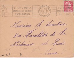 1955 France 17 Charente-Maritime St Jean D'Angely Flamme 'Monuments, Cognac, Pineau, Biscuits' - Postmark Collection (Covers)