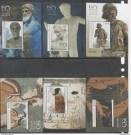 GREECE, 2017,150 YEARS GREEK ARCHAEOLOGICAL MUSEUM, POSEIDON,THE KISS, MYCENAEAN LADY, 6 NUMBERED S/S,ONLY 7000 PRODUCED - Museums