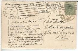 BARCELONA 1917 TP A LISBOA SELLO ALFONSO XIII CON CENSURA PORTUGAL - 1889-1931 Reino: Alfonso XIII