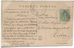 BARCELONA 1917 TP MADRID A LISBOA SELLO ALFONSO XIII CON CENSURA PORTUGAL - 1889-1931 Reino: Alfonso XIII