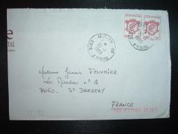 LETTRE TP TETE ELEPHANT 155F Paire OBL.20-1 1989 ABIDJAN 08 - Ivory Coast (1960-...)