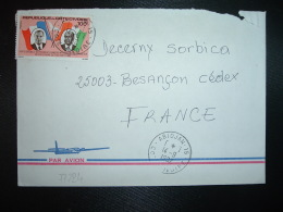 LETTRE TP PRESIDENT FRANCOIS MITTERAND 100F OBL.14-9 1982 ABIDJAN 15 - Ivory Coast (1960-...)
