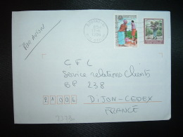 LETTRE TP 180F + TP 100F OBL.MEC.17-6 1996 BOUAKE 01 - Ivory Coast (1960-...)