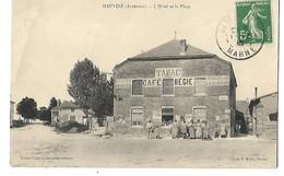08 HAUVINE HOTEL ET LA PLACE CAFE TABAC édit. Robert Collard, Buraliste 1913 CPA 2 SCANS - France