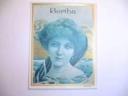 Superbe étiquette Boite à Cigare Art Nouveau Bertha Cigar Label - Etiquettes