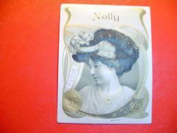 Ancienne étiquette De Boite à Cigare En Relief Art Nouveau  Nelly. - Etiquettes