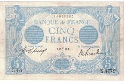 5 Francs Bleu 12/03/1915 TTB - 1871-1952 Anciens Francs Circulés Au XXème
