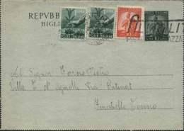 1949- Biglietto Postale L.10 Verde Democratica Con Affrancatura Aggiunta Due L.1+L.10 Arancio Democratica,annullo A Targ - 6. 1946-.. Repubblica