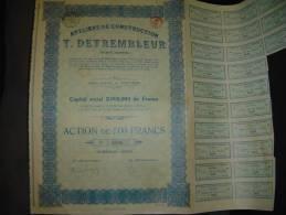 """Action""""Ateliers De Construction T.Detrembleur""""Verviers  1923 Reste Des Coupons - Industrie"""