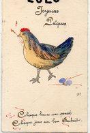 ANIMAUX 63 : Poule œufs ; Joyeuse Pâques , Pailleté Et Signé H R ( Je Crois Voir Scan ) - Animals