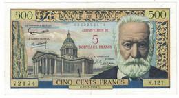 500 Francs Victor Hugo Surchargé 12/02/1959 SUP / SPL - 1955-1959 Sovraccarichi In Nuovi Franchi