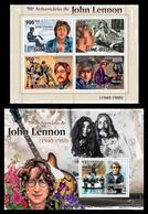 GUINEA BISSAU 2010 - John Lennon  - Mi 4925-8 + B827, YT 3609-12 + BF558 - Zangers