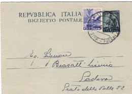 1949-biglietto Postale L.10 Con Affrancatura Aggiunta L.6 Democratica - 1946-60: Storia Postale