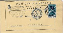 1957-piego Municipale Affrancato L.25 Semaforo Isolato - 1946-.. République