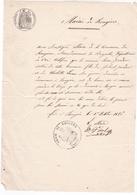 83 / ROUGIERS / TRES JOLIE LETTRE MANUSCRITE DU MAIRE  / 1 OCTOBRE 1856 / TAMPON MAIRIE ET TIMBRE IMPERIAL - Documents Historiques