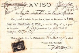 Portugal -Porto- 2 Avisos -santa Casa Da Misericórdia Do Porto 1918 - Usado