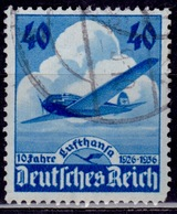 Germany, 1936, 10th Anniv. Lufthansa Airplane, 40pf Sc#469, Used - Used Stamps