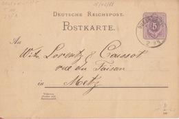 Moselle, Postkarte De Bouzonville (T111 Busendorf) Entier 5pf Le 28/6/88 Pour Metz - Alsace-Lorraine