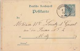 Moselle, Postkarte De Bouzonville (T111 Busendorf) Entier 5pf Le 8/2/90 Pour Metz - Alsace-Lorraine