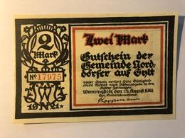 Allemagne Notgeld Norddorf 2 Mark - [ 3] 1918-1933 : Weimar Republic