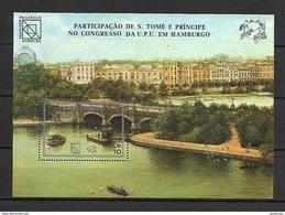 Sao Tome 1984 UPU - Ships - Bridges MS MNH (DMS01) - Sao Tome And Principe