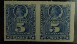 O) 1878 CHILE, CHRISTOPHER COLUMBUS- SCOTT 28 5c Ultra-NO GUM - Chile