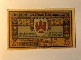 Allemagne Notgeld Wernigerode 25 Pfennig - [ 3] 1918-1933 : Weimar Republic