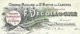 Facture 1903 / 52 SAINT MARTIN Par Langres / F. DECOLOGNE / Grands Moulins De St Martin, Farines Supérieures - France