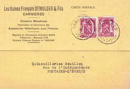 Lettre Carnières 1942 Belgique Clouterie Mécanique Les Usines François Demulder & Fils - België