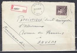 Aangetekende Briefstuk Van Ciney Naar Anvers - 1936-1951 Poortman