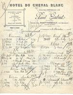 Facture 1928 / 52 SAINT THIEBAULT  Par BOURMONT / Hôtel Du CHEVAL BLANC / P. GABUT - France