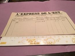 Reçu De Facture L'express De Lest Épinal 1925 Monsieur Vichard - France