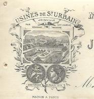 Facture 1882 / 52 SAINT URBAIN Par Joinville / Maison à PARIS / J. THABOURIN / Machines à Coudre - France