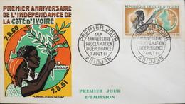 Répub. De COTE D'IVOIRE - 1er Jour 1961 - 1er Anniv. Proclamation De L'Indépendance - Daté Abidjan 7.8.1961 - TBE - Ivory Coast (1960-...)