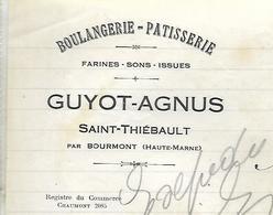 Facture Lettre 1925 / 52 SAINT THIEBAULT Par Bourmont / Boulangerie Pâtisserie GUYOT - AGNUS - France
