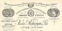 Facture 1915 / 52 VICQ / H. REMONQUIN / Fabrique D'outils Fer, Fonte, Acier, Coutellerie, Scierie - France