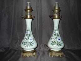 PAIRE DE LAMPES A PETROLE NAPOLEON III XIXème-OLD OIL LAMP ENAMEL VICTORIAN 19TH - Lamps
