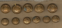 Lot De 11 Boutons Kings Own Royal Regt NY -canada - Buttons