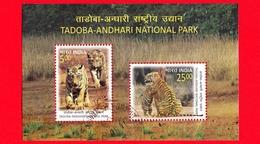 INDIA  - Usato - 2016 - Parco Nazionale Tadoba-Andhari - Felini Predatori  - Tigri - Tiger (Panthera Tigris) - BF - Blocks & Sheetlets