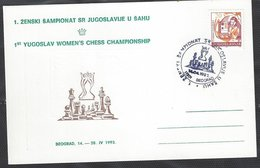 Chess, Yugoslavia 14.04.1993, Belgrade, Postcard With Special Hand Cancel, Yugoslav Women's Championship - Schaken