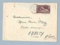 N°356 Seul Sur Enveloppe De St Claude Vers Annecy 10/9/36 Verso TAD Machine - Postmark Collection (Covers)