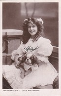 Real Photo Postcard;  Little Miss Mischief Nursing  Little Dog. - Famous People