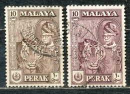 D - [ENV-010]Perak, N° 105 + 105a, Brun Fonce Et Violet-noir, La Nuance - Malaysia (1964-...)