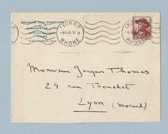 N°495 Seul Sur Enveloppe Entête Réunion Des Officiers De Lyon TAD Machine Lyon RP 4/3/41 - Postmark Collection (Covers)